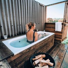 Sink into a steaming bath under a canopy of stars. Our two unique wood-fired baths are set in a private area and sit side by side. Outdoor Tub, Outdoor Baths, Outdoor Bathrooms, Outdoor Fire, Outdoor Living, Outdoor Decor, Cat Farm, Firewood, Bathing
