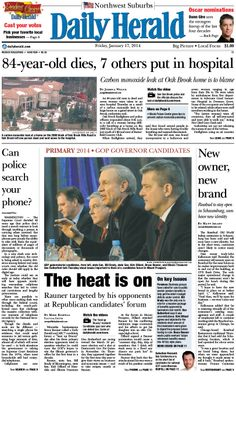 Daily Herald front page, Jan. 17, 2014; http://eedition.dailyherald.com/