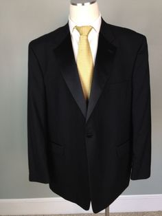 Mens 52L STAFFORD Wool 1 Button Tuxedo Suit Jacket And Pants BLACK #OneButton