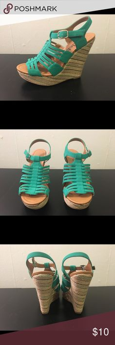 Deb Mint Green Wedges These have been worn a couple of times but they are in great condition! If you would like more pictures of them let me know. Deb Shoes Wedges