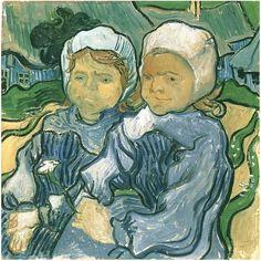 Two Children Vincent van Gogh Painting, Oil on Canvas Auvers-sur-Oise: June, 1890 #vanGogh