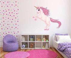 Full Colour Unicorn Girls Bedroom Nursery Wall Sticker Decal Kids D? Unicorn Bedroom Decor, Bedroom Themes, Girls Bedroom, Bedroom Ideas, Kids Party Decorations, Kids Decor, Unicorn And Fairies, Unicorn Wall, Nursery Wall Stickers