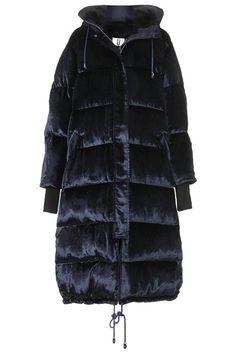 Navy velvet coat available from Topshop