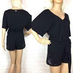 e200e9ed7b Sequinned Short Jumpsuit Playsuit Black Sparkle Cross Over Boxy Top Tie  Belt 12  fashion