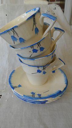 Vintage Myott Teacups and Saucers 1940s Handpainted Tulip Design