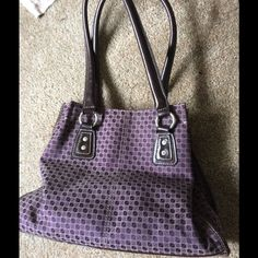 Purple Shoulder bag purse Nine & Co. Brown and purple, great size , lots of separate compartments inside. In great condition Nine & Co. Bags Satchels