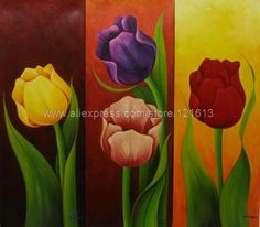 Floral Triptych Painting Signed Mexican Fine Art - Tulips on Blue Fox Painting, Sailboat Painting, Fabric Painting, Artist Painting, Painting & Drawing, Tulip Drawing, Flower Art Drawing, Triptych Art, Oil Pastel Art