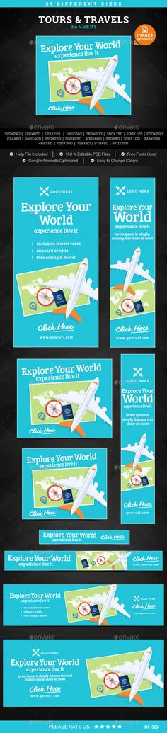 Tours & Travels Banners Template #design Download: http://graphicriver.net/item/tours-travels-banners/12190826?ref=ksioks