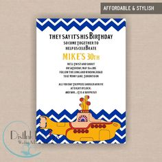 Yellow Submarine Beatles Inspired Birthday Invitation - Printable 5x7 CUSTOMIZE the COLORS and WORDING. $16.40, via Etsy.