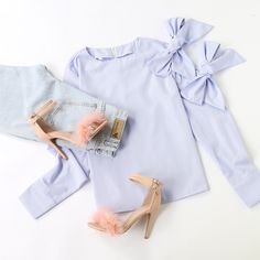 Blue Vertical Striped Bow Tie Sleeve Blouse