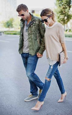 Christine Andrew e marido do @hellofashionblog. Referência de style coupple