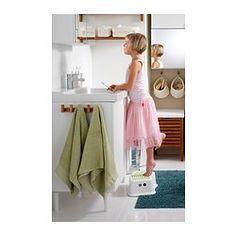 FÖRSIKTIG Children's stool, white, green - white/green - IKEA