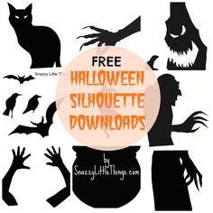 FREE (Downloadable) Halloween Window Silhouettes - my freehanded creations are now YOURS! Happy Halloween!