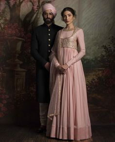 Bride and Groom Goals: Baby pink light anarkali with embroidered jacket and sequinned dupatta - Sabyasachi 2016