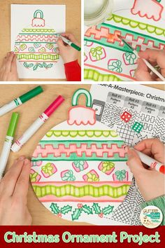 Decorate your bulletin board with these christmas ornaments. Fill up your art sub plans folder with no-prep art projects that pair well with other Christmas act Christmas Art For Kids, Christmas Art Projects, Winter Art Projects, Christmas Ornament Crafts, Christmas Crafts For Kids, Christmas Activities, Craft Activities, Handmade Christmas, Christmas Cards