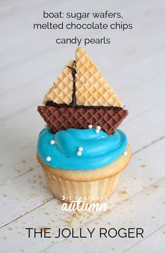 these adorable pirate cupcakes are easy to decorate, and the best part is they use normal frosting instead of yucky fondant! click through for all 4 versions. Easy Pirate Cake, Pirate Birthday Cake, Pirate Cupcake, Birthday Cupcakes, Pirate Party, Nautical Cupcake, Pirate Halloween, Nautical Party, Farm Birthday