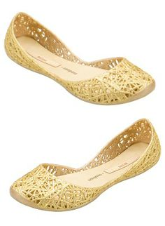 Melissa and Campana come together to design fun and comfortable youth gold jelly flats with glittery zig zag detail by Melissa Plastic Shoes and Sandals, $65.00
