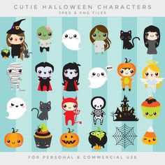 Halloween cute clip art kawaii clipart by WinchesterLambourne Kawaii Halloween, Halloween Mono, Halloween Doodle, Halloween Tattoo, Halloween Crafts, Happy Halloween, Halloween Decorations, Halloween Witches, Cute Halloween Drawings
