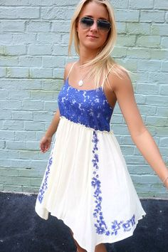 83fb46e410e0 Perfectly Sweet Blue Floral Print Crochet Bust A-Line Crinkle Sundress –  Amazing Lace