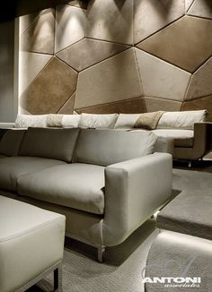 home theater Wall Acoustic Panels - Modern Residence on Head Road 1843 by Antoni Associates in Cape Town. Home Cinema Room, Home Theater Rooms, Home Theater Seating, Home Theater Design, Acoustic Wall, Acoustic Panels, Upholstered Wall Panels, Wall Panel Design, Beige Couch