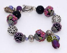 Lampwork Beaded Bracelet Purple Amethyst Lavender, Black Floral Charm Bracelet, Victorian-Inspired ~ from Etsy Independent Seller