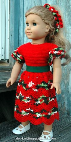 ABC Knitting Patterns - American Girl Doll Perfect Christmas Dress--check the comments about row 13