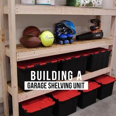Bathroom Ideas Discover Easiest Garage Storage Shelves Ever! You wont believe how easy it is to make great storage shelves for your garage. Just need and OSB sheet and youll be done in a few hours. Get the full garage shelving video and free plans! Basement Storage Shelves, Easy Garage Storage, Garage Shelving Units, Garage Storage Solutions, Garage Shelf, Shed Storage, Building Shelves In Garage, Garage Cupboards, Build Shelves