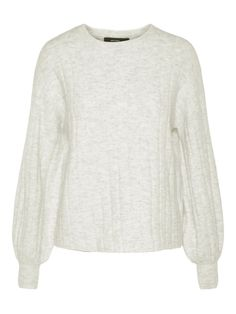Light grey knitted pullover with balloon sleeves.  veromoda Ballon c843f410e