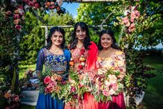 Hindu Ceremony for an Indian Bride and her Colourful, Multicultural Garden Wedding Maids wear traditional Indian dress for a Colourful, Multicultural Garden Wedding. Images by Matt Willis Indian Wedding Flowers, Bright Wedding Flowers, Shed Wedding, Garden Wedding, Wedding Stuff, Mandap Design, Multicultural Wedding, Interracial Wedding, Dresses To Wear To A Wedding