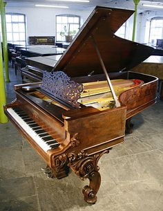 Ref An antique Steinway concert grand piano with a rosewood case and ornately carved legs. Photo taken by Sophie Pitcher at Besbrode Pianos Leeds. Steinway Grand Piano, Grand Pianos, Piano Music, Art Music, Piano Pictures, Piano For Sale, Instruments, Music Writing, Keyboard Piano