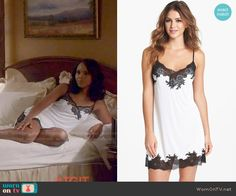 Olivia's white chemise with black lace trim on Scandal.  Outfit Details: http://wornontv.net/53215/ #Scandal