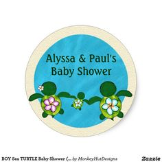 BOY Sea TURTLE Baby Shower (Honu) 02B blank #02 Classic Round Sticker