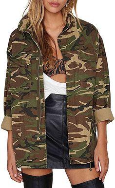 IRISIE Women Military Camo Lightweight Long Sleeve Camouflage Jacket Coat Military Jacket Women, Military Outfits, Coats For Women, Clothes For Women, Fall Clothes, Camouflage Jacket, Oversized Jacket, Anorak Jacket, Winter Outfits Women