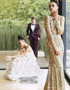 Editorial feature from the Grace Ormonde Wedding Style Fall/Winter    Left: Monique Lhuillier gown from the Bridal Spring 2013 Wedding Dresses as featured at  http://weddinginspirasi.com/2012/04/19/monique-lhuillier-bridal-spring-2013-wedding-dresses/    Right: Naeem Khan dress from the Fall/Winter 2012-2013 as featured at  http://weddinginspirasi.com/2012/02/27/naeem-khan-fall-winter-2012-2013/