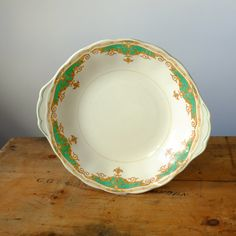 Green and Gold Creampetal Serving dish Vintage China, Serving Dishes, Green And Gold, Plates, Unique Jewelry, Tableware, Handmade Gifts, Etsy, Licence Plates