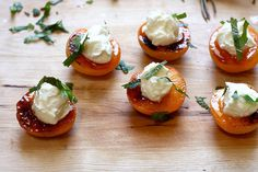 roasted apricots with mascarpone, honey and mint....sweet christ child! Serve them up STAT