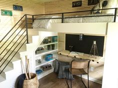 """Here's a shot of the bunk beds we designed from last week's #fixerupper . I chose """"skinnylap"""" instead of traditional shiplap on the walls, it gives the room more of a modern feel @hgtv"""