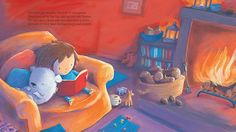 Alison Brown Illustration - alison, brown, alison brown, paint, painted, acrylic, commercial, trade, picture book, picturebook, novelty, mass market, fiction, young reader, YA, cute, sweet, child, warm, cosy, person, fire, logs, seat, room, living room books, toys girl, bear, sleep, happy, friend, friendship, reading