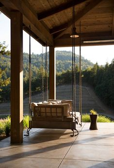 Magnificent Farmhouse porch with rustic reclaimed wood swing vineyard view. The post Farmhouse porch with rustic reclaimed wood swing vineyard view. Jennifer Robin … appeared first on Home Decor . Farmhouse Interior, Rustic Farmhouse, Farmhouse Style, Rustic Kitchen, Farmhouse Design, Farmhouse Ideas, Farmhouse Porch Swings, Farmhouse Front Porches, Napa Valley