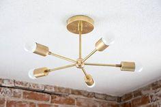 Free Shipping! Modern Chandelier Gold Five 5 Arm Pinwheel Bulb Brass Sputnik Mid Century Semi Flush Industrial Hanging Light UL Listed