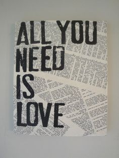 Yes. :: Literary Canvas - All You Need Is Love by Canton Box Company