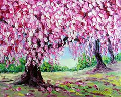 """Cherry Trees Abstract Pink Tree Landscape Original Oil Painting Palette Knife High Impasto Textured on Small Canvas 8x10"""" Ready to Hang by NuuPaletteKnife on Etsy https://www.etsy.com/listing/292197899/cherry-trees-abstract-pink-tree"""