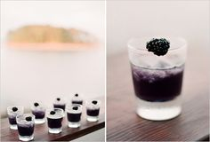 oz purple juice drink like splash, 1 oz. vodka, oz triple sec, Blackberry for garnish. Combine all ingredients in cocktail shaker and pour over ice into little shot glasses. So delicious and such a little treat. Juice Drinks, Cocktail Drinks, Yummy Drinks, Alcoholic Drinks, Cocktail Shaker, Beverages, Wedding Signature Drinks, Signature Cocktail, Wedding Reception Food