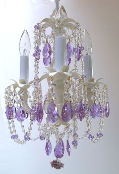 Ive been trying to come up with ideas for Hannahs room and have been looking at purple for the wall colors. The idea of a chandelier came to me for her light and then I saw this one! Girls Bedroom Chandelier, Purple Chandelier, Chandelier Crystals, Lavender Room, Lavender Cottage, Home Design, Interior Design, Modern Design, Chandelier Tattoo