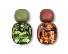 Hemmerle earrings, brown and green tourmalines, copper, white gold, 0523.13