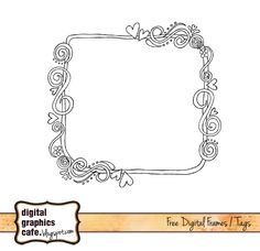 Free digital scrapbooking line art frame