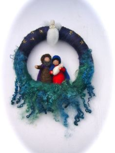 Wreath Joseph,Mary,Jesus,Angel,Christmas. Needle Felted. Waldorf
