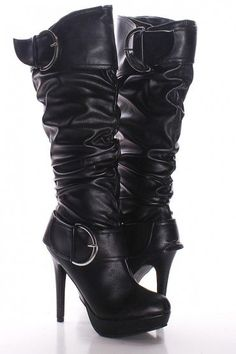 BLACK FAUX LEATHER DOUBLE OVER SIZED BUCKLE HIGH HEEL KNEE HIGH BOOTS