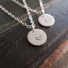 Mother daughter necklace set two heart necklaces by KGarnerDesigns
