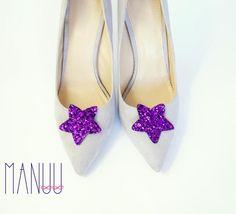 Purple glitter stars shoe clips Manuu Bridal shoe clips